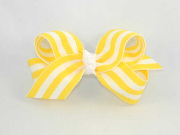 Yellow & White Stripe Medium Hair Bow