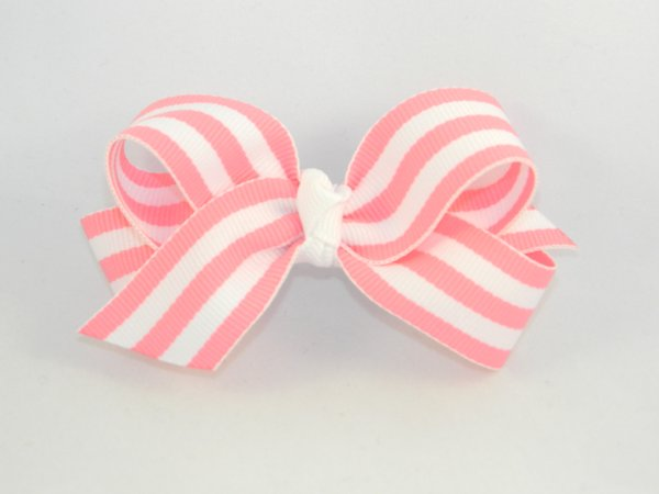 Pink & White Stripe Medium Hair Bow