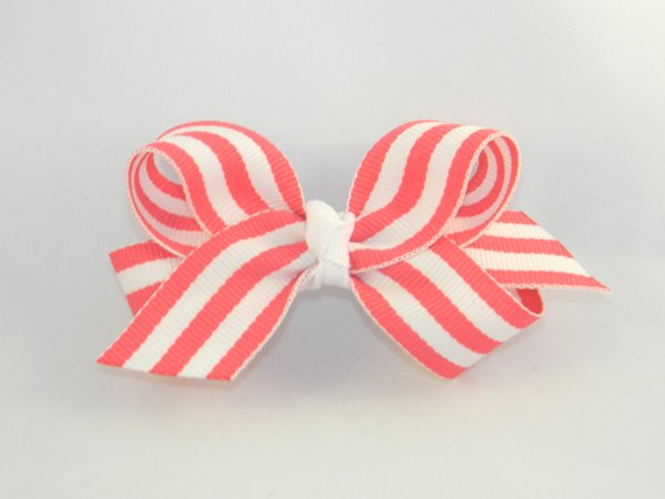 Geranium & White Stripe Medium Hair Bow