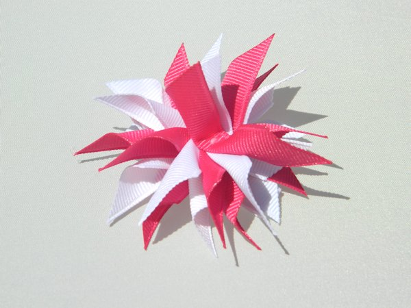 Shocking Pink & White Small Splash Bow
