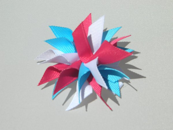 Mystic Blue, White & Hot Pink Small Splash Bow