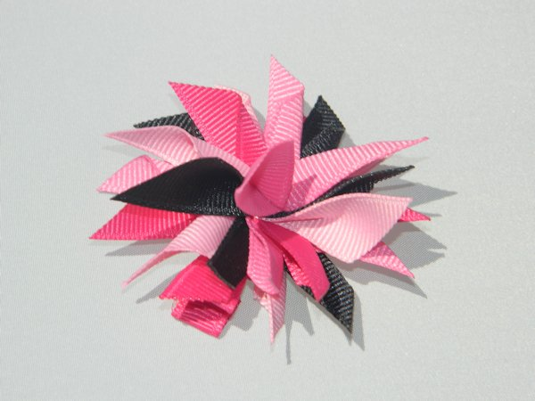 Black & Multi Pink Small Splash Bow
