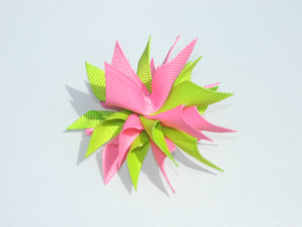 Hot Pink & Lime Small Splash Bow