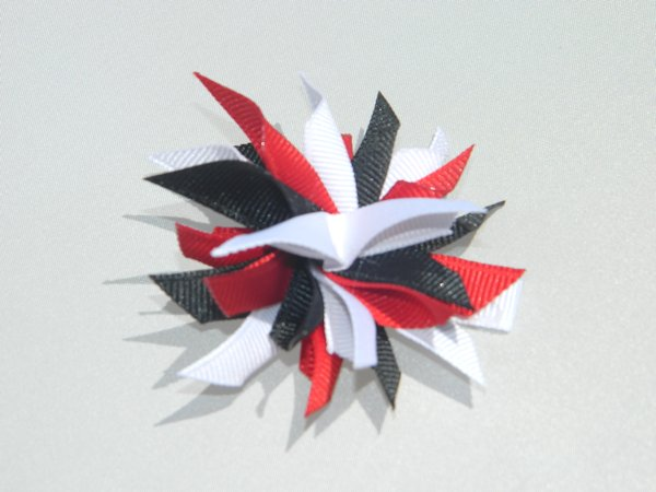 Red, White & Black Small Splash Bow