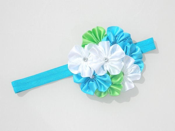 Island Blue, Lime & White Soft Headband 1