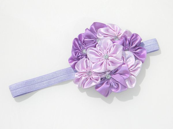 Multi Purple Satin Rosette Soft Headband 1