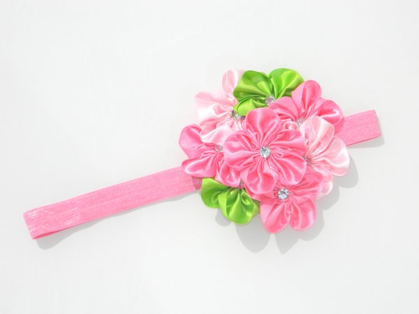 Multi Pink & Lime Satin Rosette Soft Headband 2