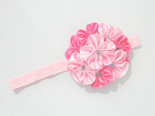Multi Pink Satin Rosette Soft Headband 1
