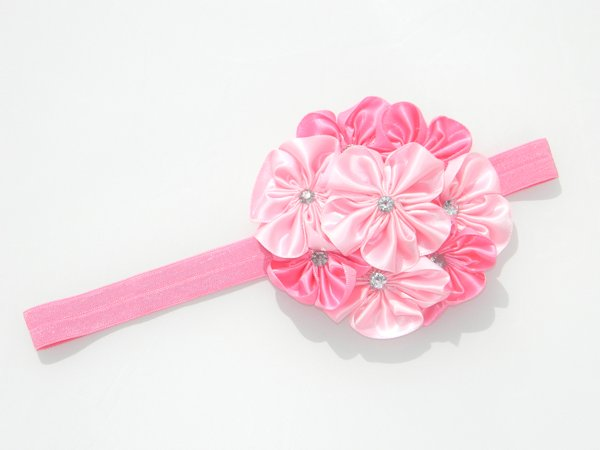 Multi Pink Satin Rosette Soft Headband 2