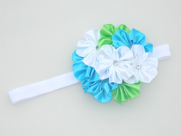 Island Blue, Lime & White Soft Headband 2
