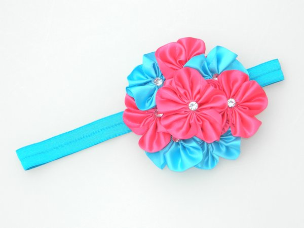 Shocking Pink & Island Blue Satin Rosette Soft Headband  1