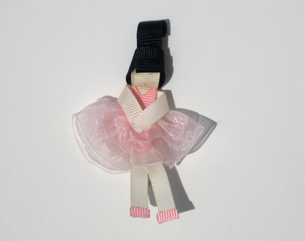 Ballerina Ribbon Sculpture with Black Hair
