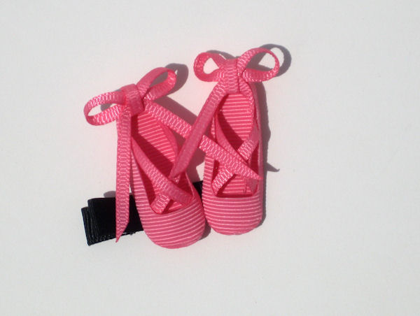 Hot Pink Ballet Shoes Hair Clip