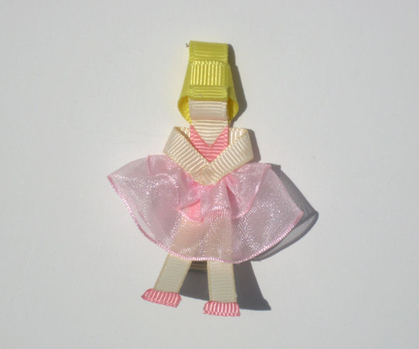 Ballerina Ribbon Sculpture with Blonde Hair