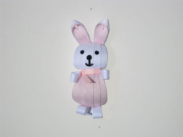 White- Lt Pink Bunny Ribbon Sculpture
