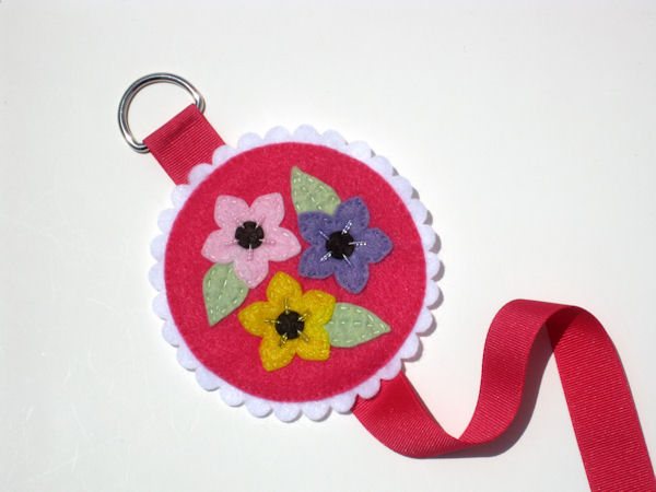 Shocking Pink Bow Holder with Flowers