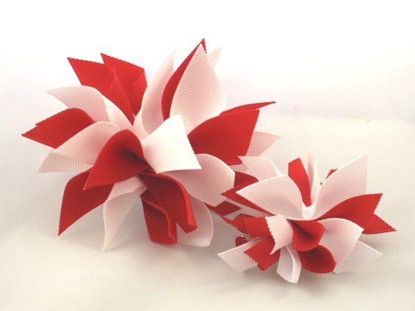 Red & White Medium Splash Bow