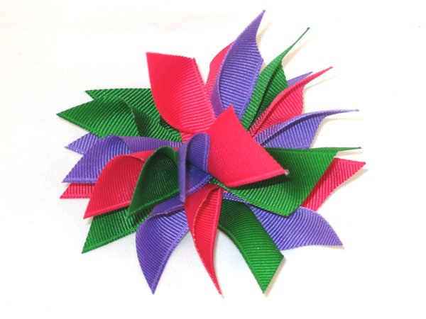 Shocking Pink, Emerald & Pansy Small Splash Bow