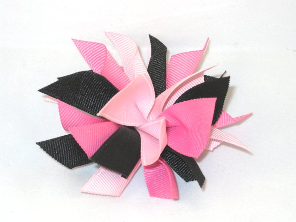 Black & Multi Pink Medium Splash Bow