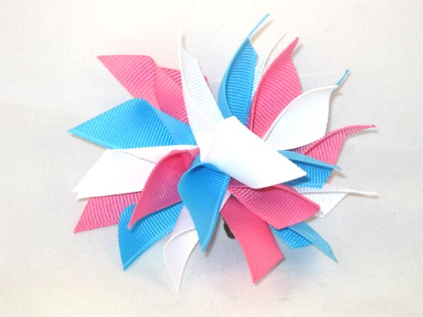 Mystic Blue, White & Hot Pink Medium Splash Bow