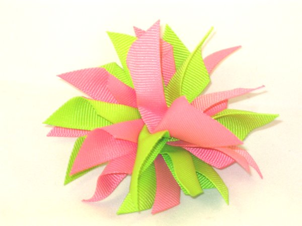 Hot Pink & Lime Medium Splash Bow