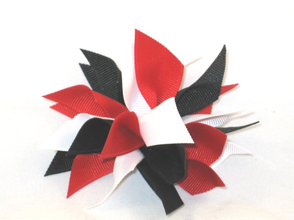 Red, White & Black Medium Splash Bow