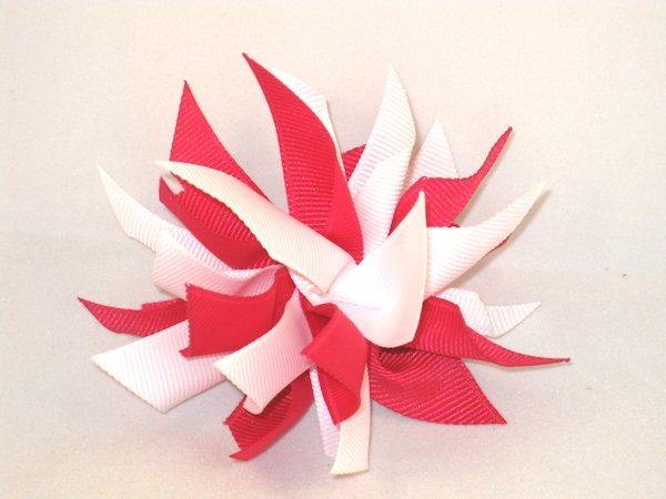 Shocking Pink & White Medium Splash Bow