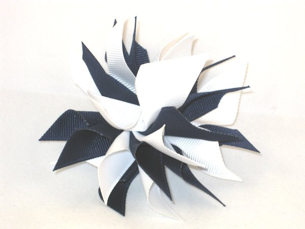 Navy & White Medium Splash Bow