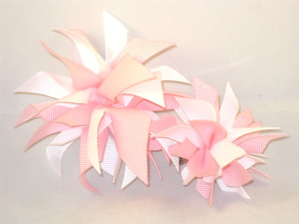 Light Pink & White Medium Splash Bow