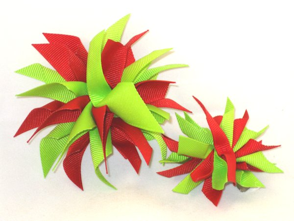 Red & Lime Green Medium Splash Bow