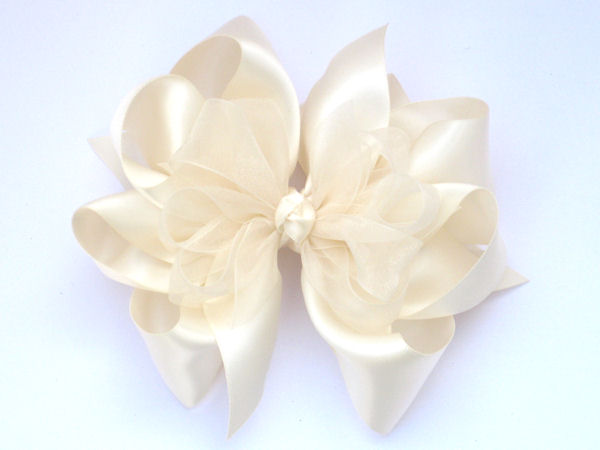Large Ivory Satin-Sheer Bow