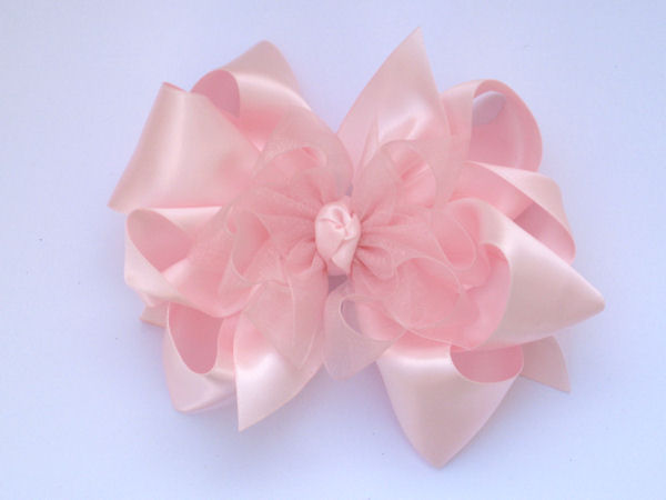 Large Light Pink Satin-Sheer Bow
