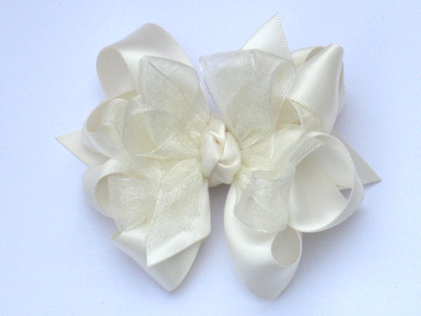 Medium Ivory Satin-Sheer Bow
