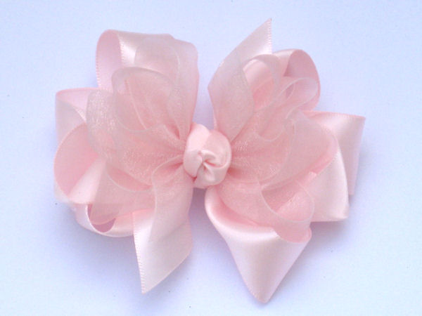 Medium Light Pink Satin-Sheer Bow