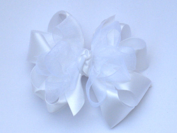 Medium White Satin-Sheer Bow