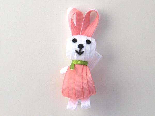 White-Pink Bunny Ribbon Sculpture