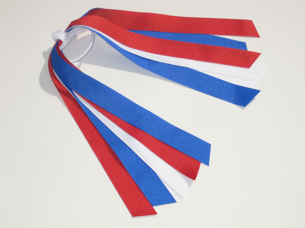 Red, White and Electric Blue Ponytail Holder