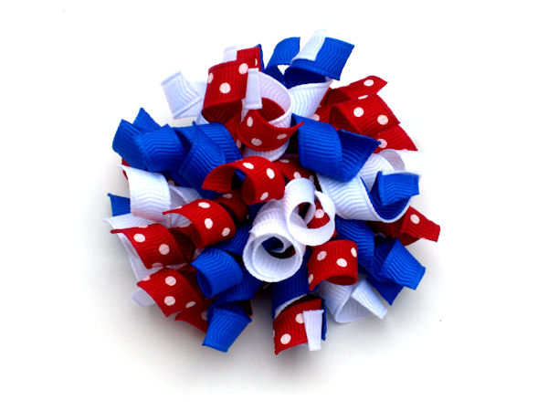 White, Electric Blue and Red with Swiss Dots Patriotic Korker