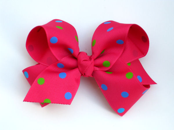 Shocking Pink and Multi-Color Polka Dot Large Hair Bow
