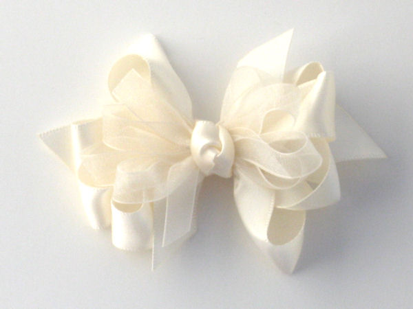 Small Ivory Satin-Sheer Bow