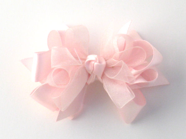 Small Light Pink Satin-Sheer Bow