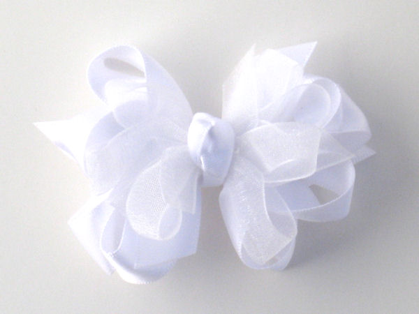 Small White Satin-Sheer Bow